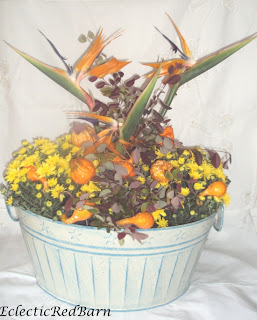 fall Florida arrangement, bird of paradise in fall arrangement
