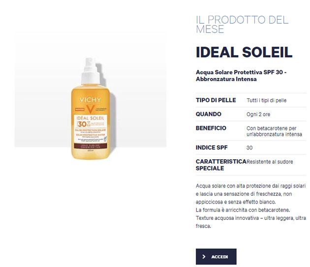 clicca qui per candidarti come tester di Vichy Ideal Soleil