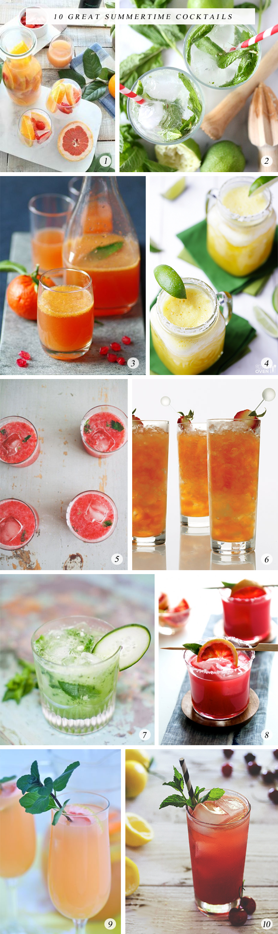 10 Great Summertime Cocktails // Bubby and Bean