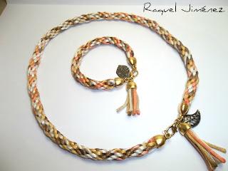 conjunto collar y pulsera en kumihimo dorado