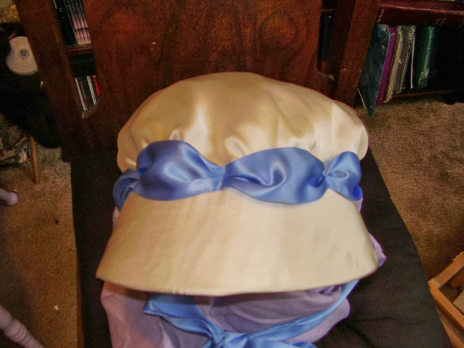 "Top view of bonnet made from the ""Julia"" Regency bonnet pattern by Timely Tresses."