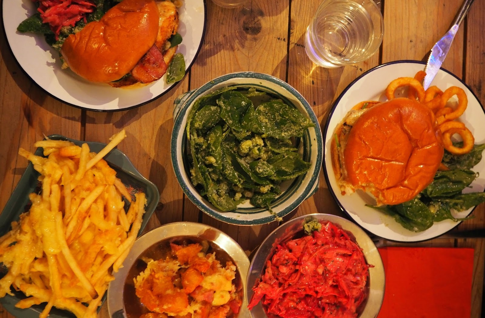 Birdseye view of burger and sides