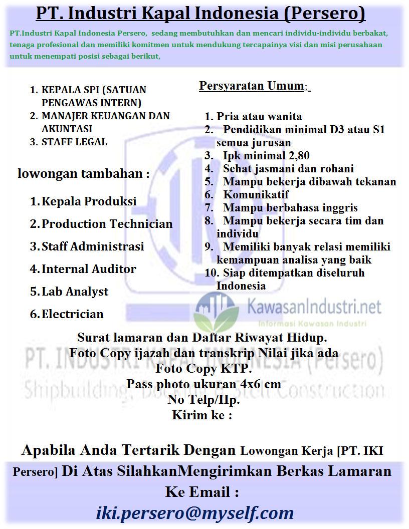 Lowongan Kerja, Karir  PT. Industri Kapal Indonesia (Persero)