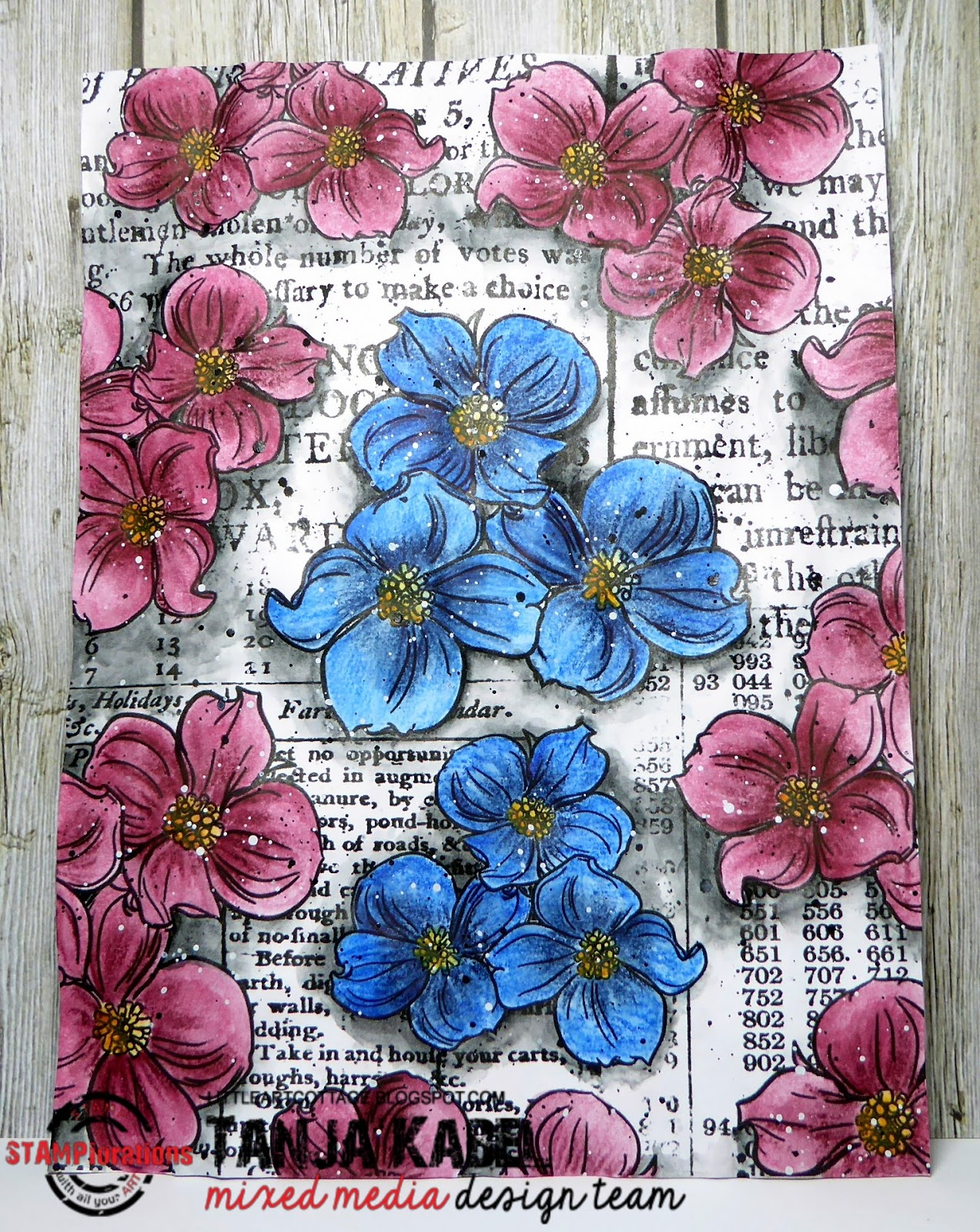 Cut Out A Page From The STAMPlorations Color Blooms Coloring Book Flowers With Inktense Pencils
