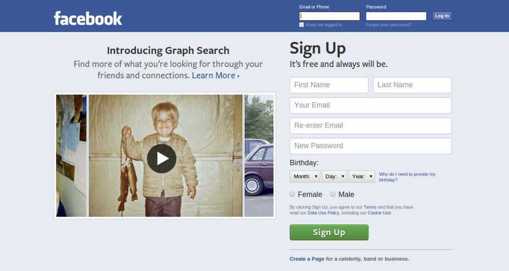 Facebook Log-in Page 2013