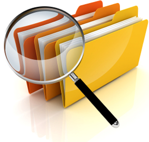 magnifying galss and folders
