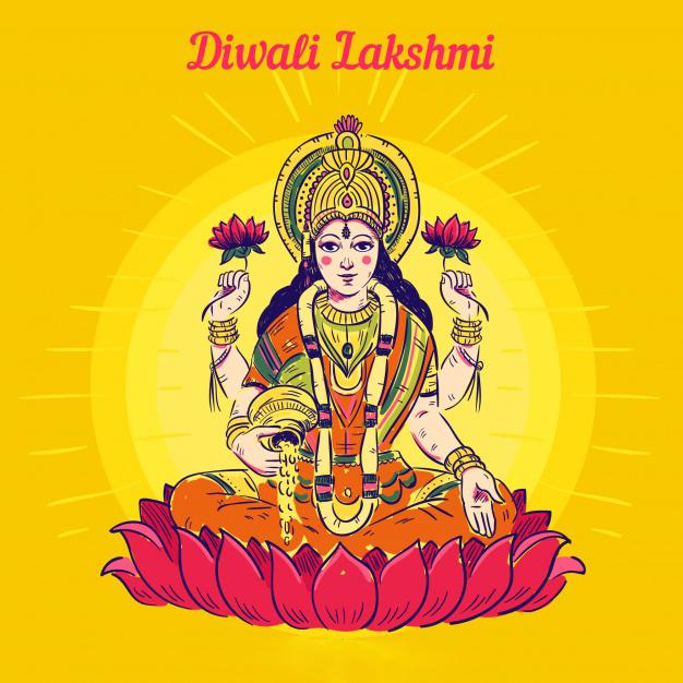 Beautiful Diwali Greeting with maa lakshmi (goddess lakshmi)