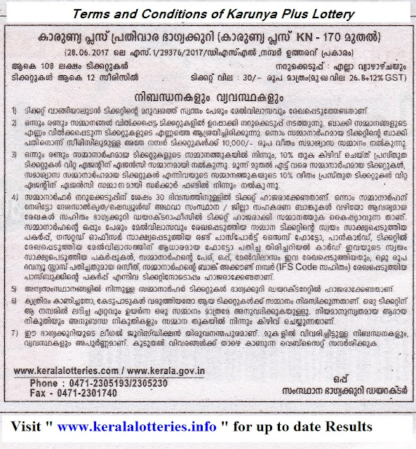 Kerala lottery_Karunya Plus_Terms and conditions