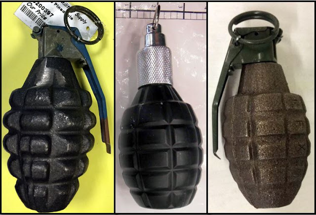 Inert and replica grenades.