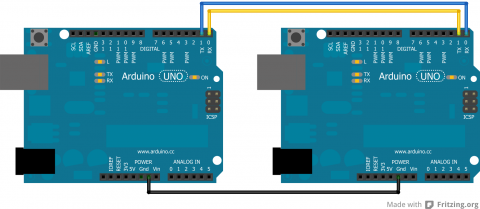 Arduino to Arduino Connection For Serial Communication ( Schematic Created Through Fritzing Software )