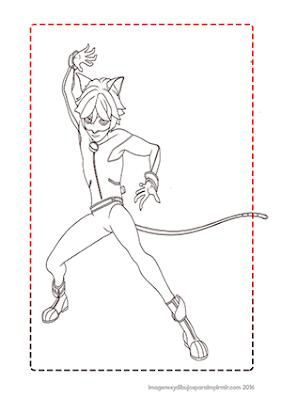 dibujo de cat noir para colorear