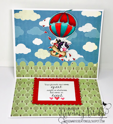 www.stampingbella.com: rubber stamp used: UP UP AND AWAY rosie and bernie, card by Rosemary Bridges
