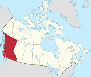 Map of British Columbia within Canada