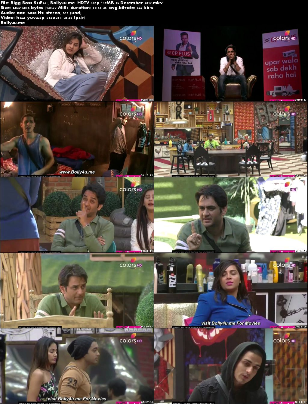 Bigg Boss S11E76 HDTV 480p 140MB 15 December 2017 Download
