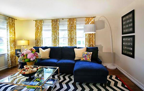 Salas en amarillo y azul salas con estilo for Decoracion de sala gris y azul