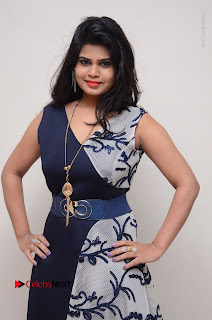 Telugu Actress Alekhya Stills in Blue Long Dress at Plus One ( 1) Audio Launch  0037.jpg