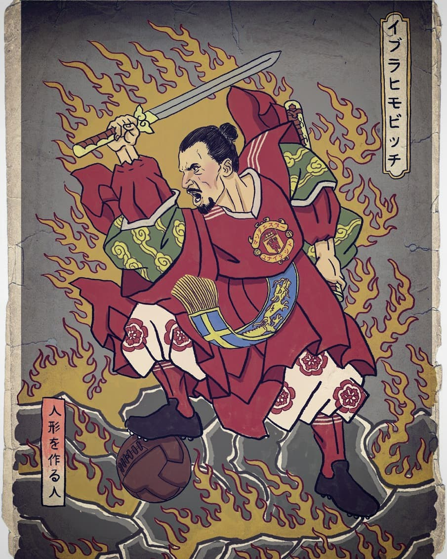 Zlatan Ibrahimović depicted as Samurai warrior by Italian artist Pupazzaro