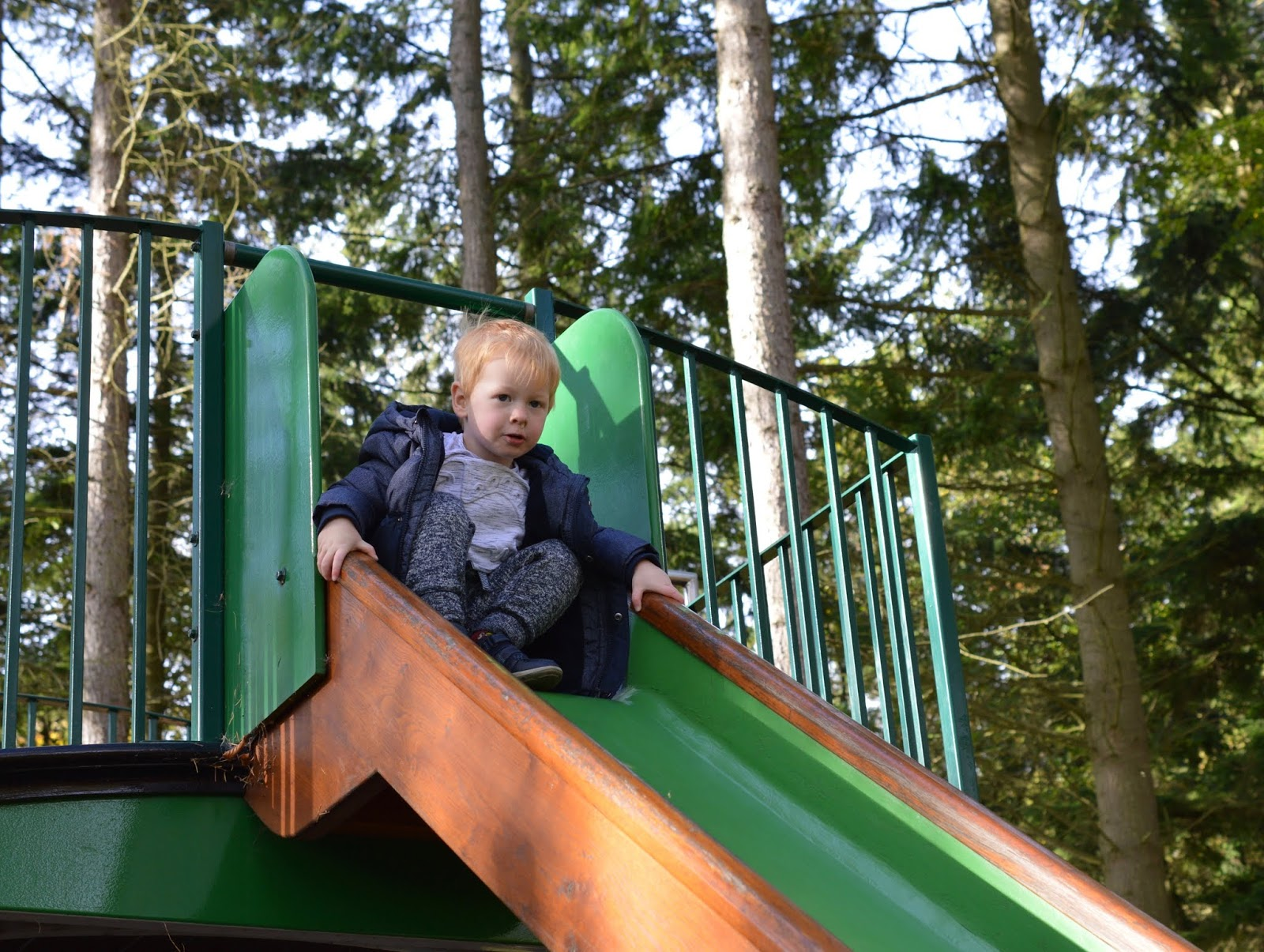 Visiting the Adventure Playground & Outdoor Play Areas at Wallington Hall  - train slide
