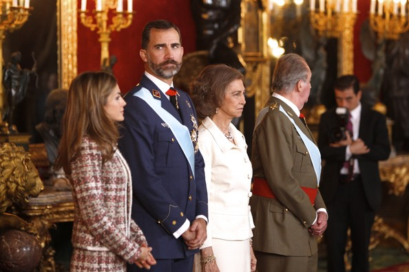 King Juan Carlos, Queen Sofia, Prince Felipe and Princess Letizia attend the National Military Parade 2012