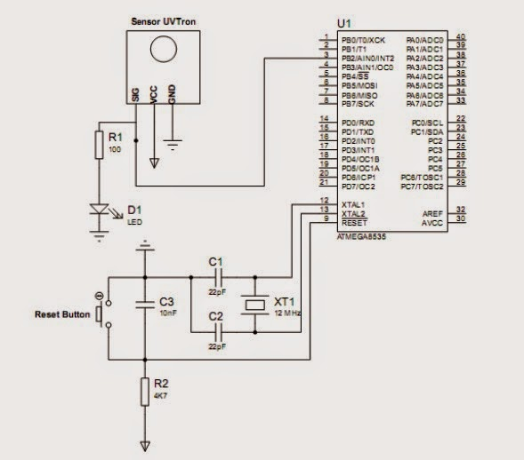 hamamatsu uvtron sensor interfacing with microcontroller circuit schematic