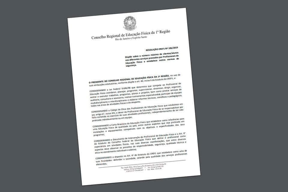 Resolução 106/19 do CREF1. Foto: Reprodução