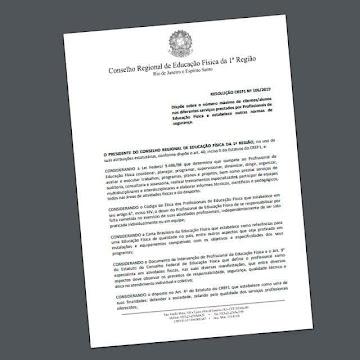 CREF1 determina limite de alunos para profissionais da Educação Física