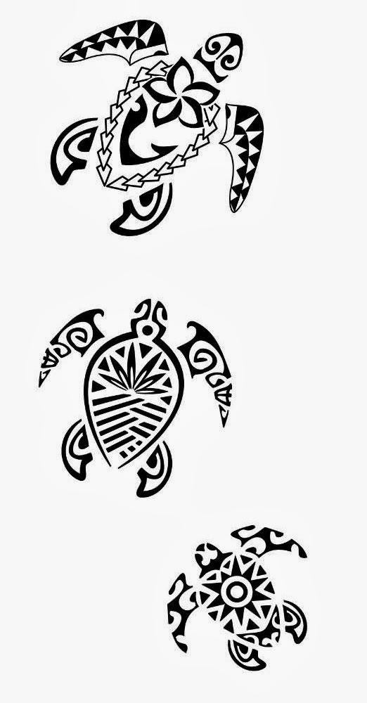 Turtles tribal tattoo stencil