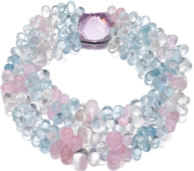 Morganite and aquamarine necklace, Michele della Valle.