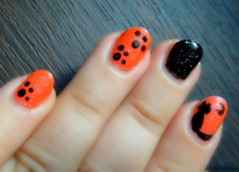 nails nail Tutorial Decoração de Unhas Gato e patas Halloween 2013