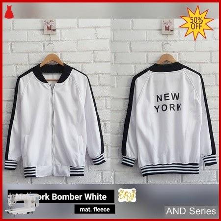 AND311 Jaket Wanita Newyork Bomber Jacket Putih BMGShop