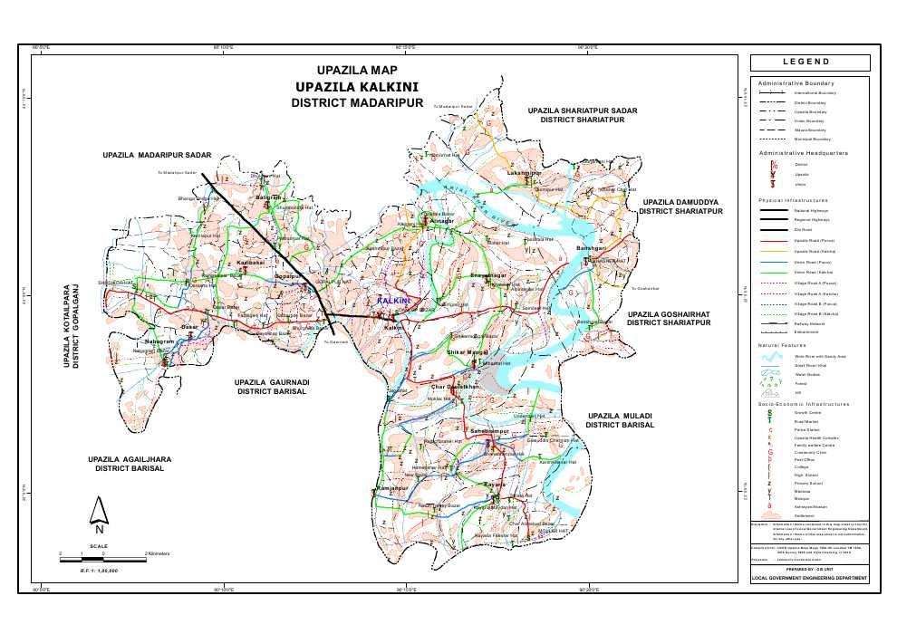 Kalkini Upazila Map Madaripur  District Bangladesh