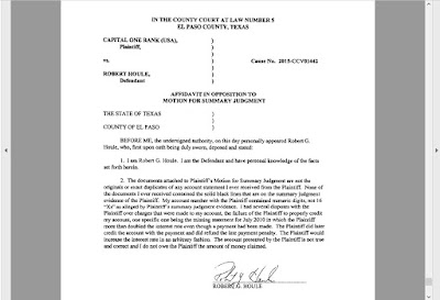 Controverting Summary Judgment Affidavit of Defendant Robert Houle