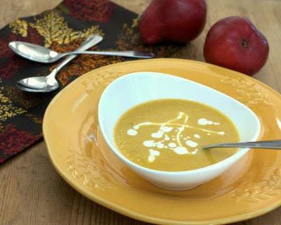 Curried Butternut Squash Soup with Pear & Coconut ♥ AVeggieVenture.com, easy to make, rich and slightly sweet, beautiful color, a fall tradition. Vegan. WW points vary.