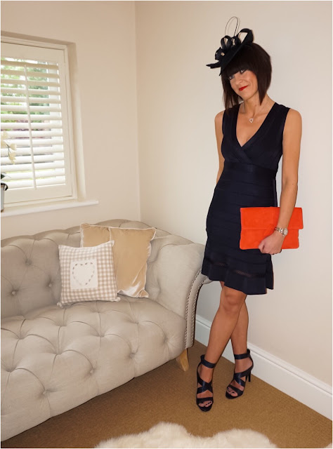 my Midlife Fashion, Crossover snake print leather sandals, boden soft suede clutch, john lewis navy blue fascinator, french connection amhara knit dress