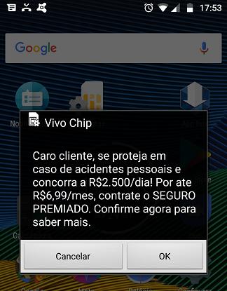 Mensagem Popup do Chip