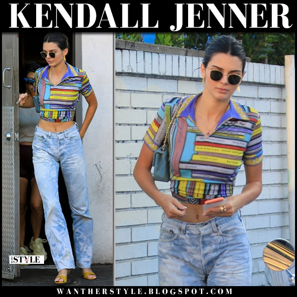 Kendall Jenner in book print crop top jean paul gaultier and jeans levis 501 model street style august 17