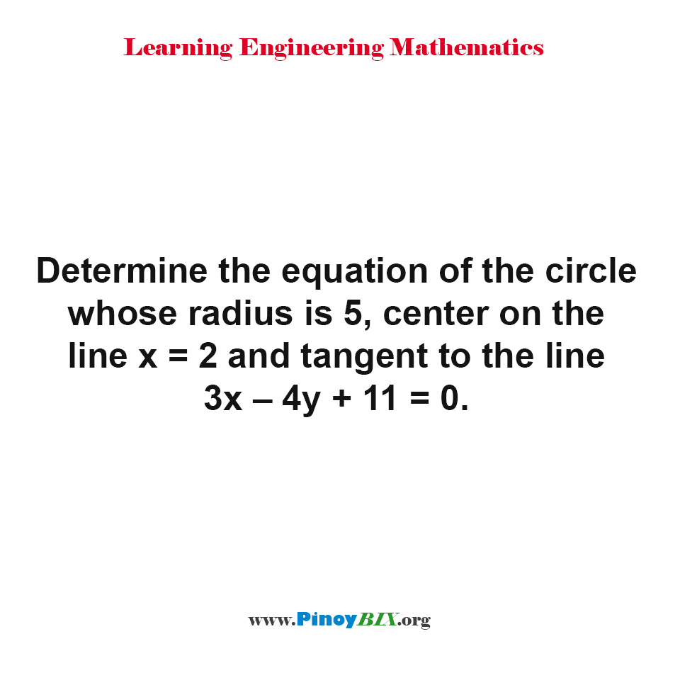 Determine the equation of the circle
