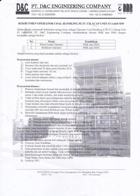 Loker PT. D&C ENGINEERING COMPANY | PLTU CILACAP