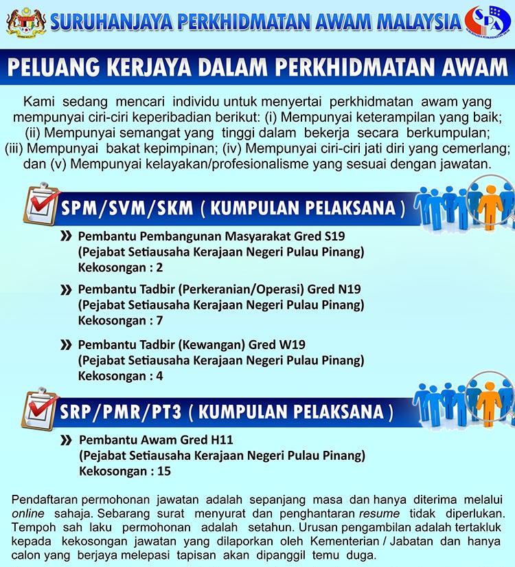 28 Kekosongan Terkini Di Suk Pulau Pinang Syarat Pmr Spm Gaji Rm1 100 00 Rm4 003 00 Jobcari Com Jawatan Kosong Terkini