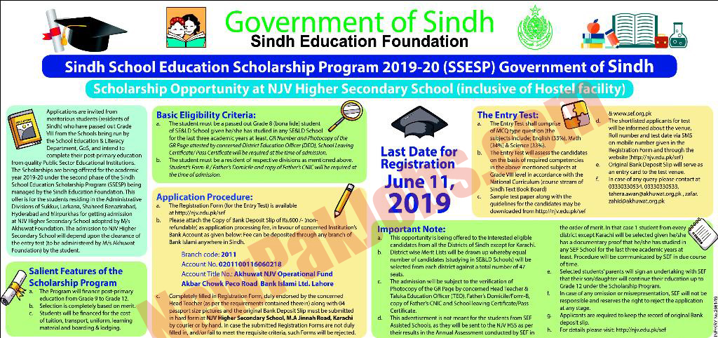 Sindh School Education Scholarship program 2019 - 2020