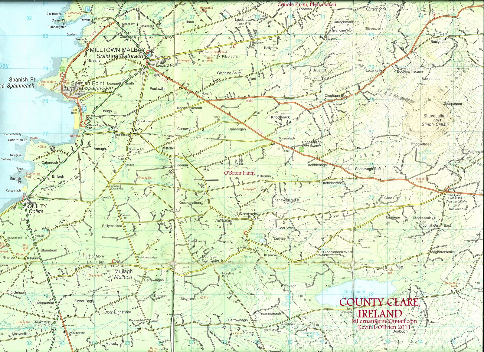 Map Of West Of Ireland.O Brien S Of Kilmurry Ibrickane Parish Co Clare Map Of West