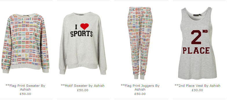 e06485ddd5 Topshop's Olympic Tie in Collection by Ashish Gupta