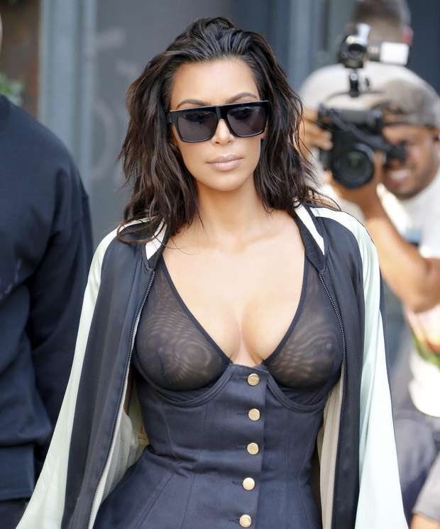 Kim Kardashian with transparencies