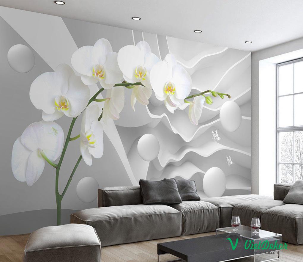 Tranh dán tường 3d hoa mộc lan trắng