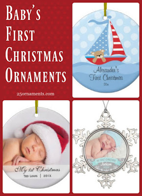 Personalize your baby's first Christmas ornament with a name or a picture. Here are some adorable examples from 25ornaments.com