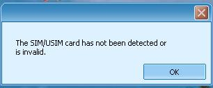 The SIM /USIM card has not been detected or is invalid