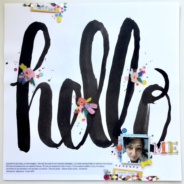 Hello Me Scrapbook Layout by Angela Tombari