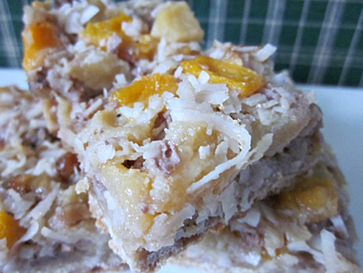 Morsels of Life - Peachy Pear Dream Bars - Peaches, pears, coconut, and nuts atop a shortbread crust. Transport yourself to the midst of summer anytime by eating these cookies/dessert bars!