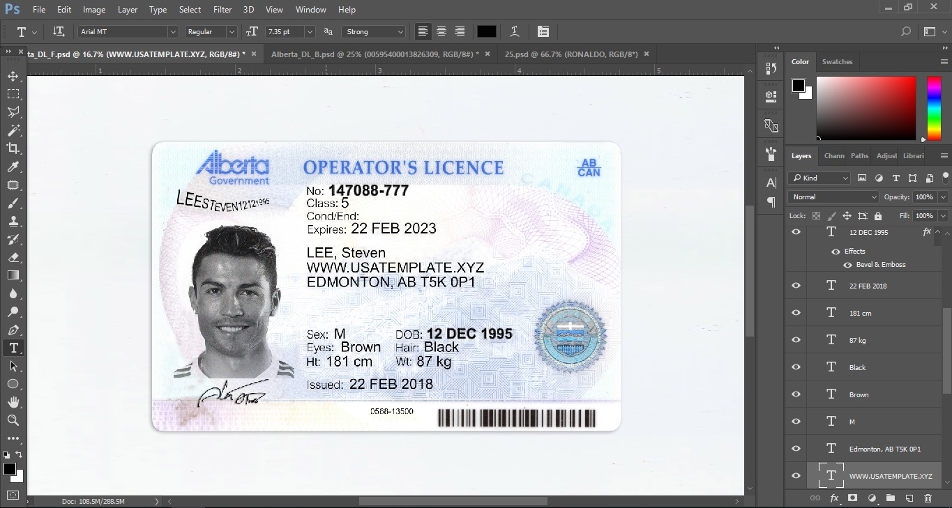 australian drivers license photoshop template