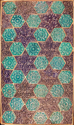 Star and Hexagonal Tile Panel, 13th-14th century (Nishapur, Iran).